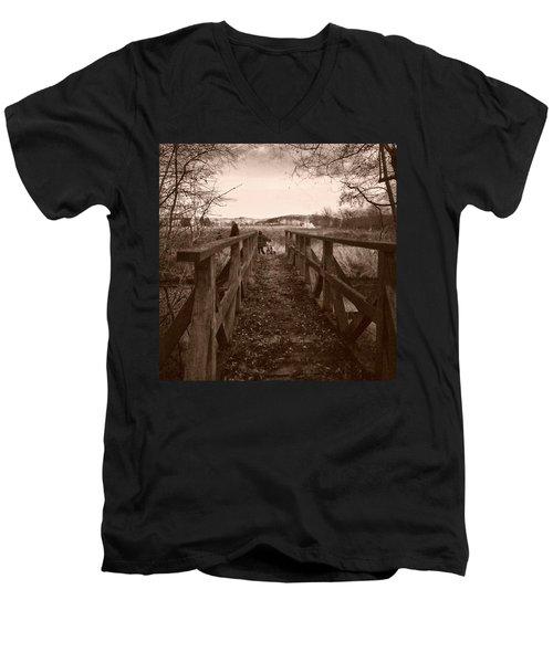 #landscape #bridge #family #tree Men's V-Neck T-Shirt by Mandy Tabatt