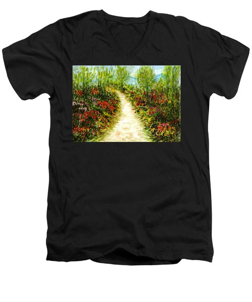 Men's V-Neck T-Shirt featuring the painting Landscape by Harsh Malik