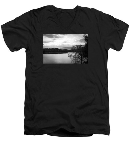 Landscape In Black And White Nantahala River Blue Ridge Mountains Men's V-Neck T-Shirt by Kelly Hazel