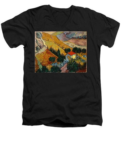 Men's V-Neck T-Shirt featuring the painting Landscape With House And Ploughman by Van Gogh