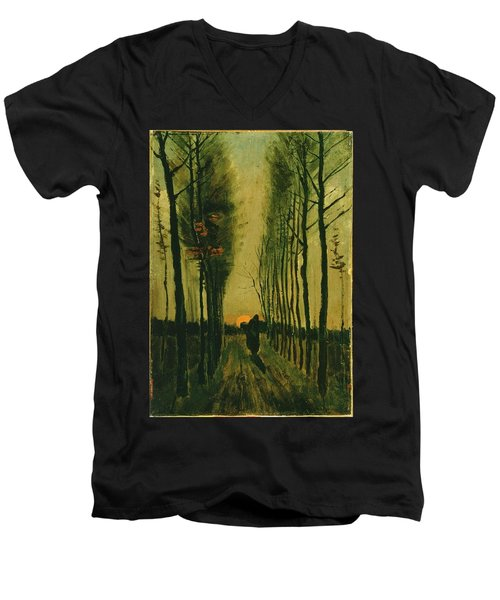 Men's V-Neck T-Shirt featuring the painting Lane Of Poplars At Sunset by Van Gogh