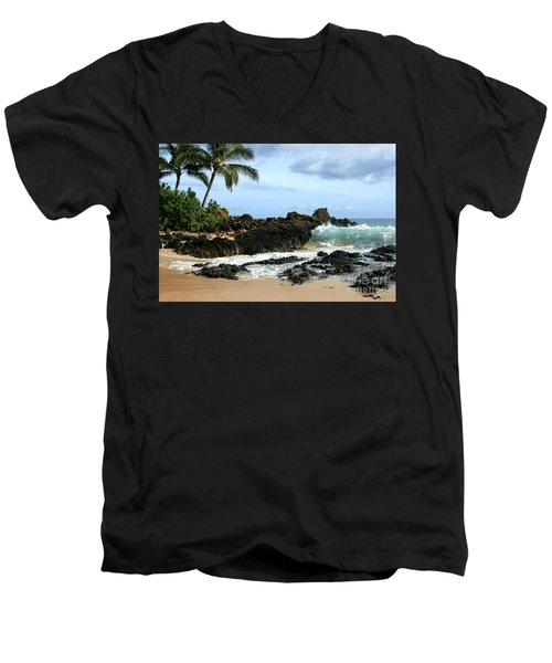 Lapiz Lazuli Stone Aloha Paako Aviaka Men's V-Neck T-Shirt by Sharon Mau
