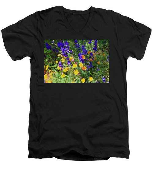 Larkspur And Primrose Garden Men's V-Neck T-Shirt