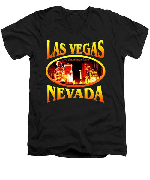 Las Vegas Nevada - Tshirt Design Men's V-Neck T-Shirt by Art America Gallery Peter Potter