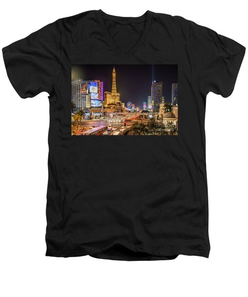 Las Vegas Strip Paris Men's V-Neck T-Shirt