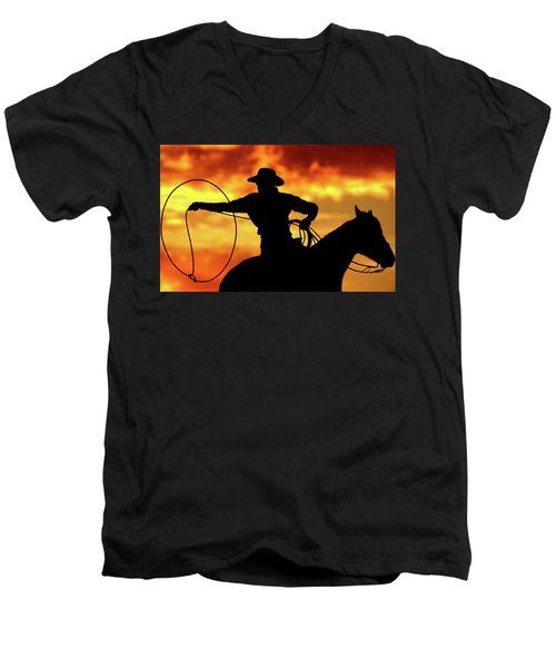 Lasso Sunset Cowboy Men's V-Neck T-Shirt