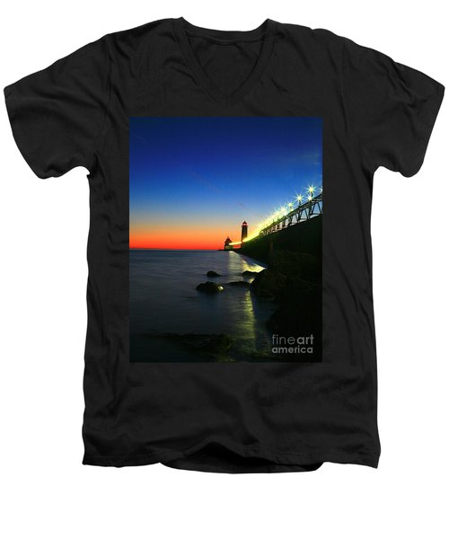 Last Light Grand Haven Michigan Men's V-Neck T-Shirt