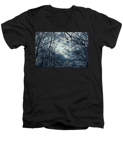 Men's V-Neck T-Shirt featuring the photograph Last Light by Sandy Moulder