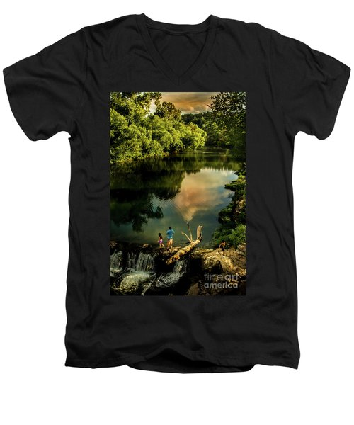 Men's V-Neck T-Shirt featuring the photograph Last Seconds Of Summer by Robert Frederick