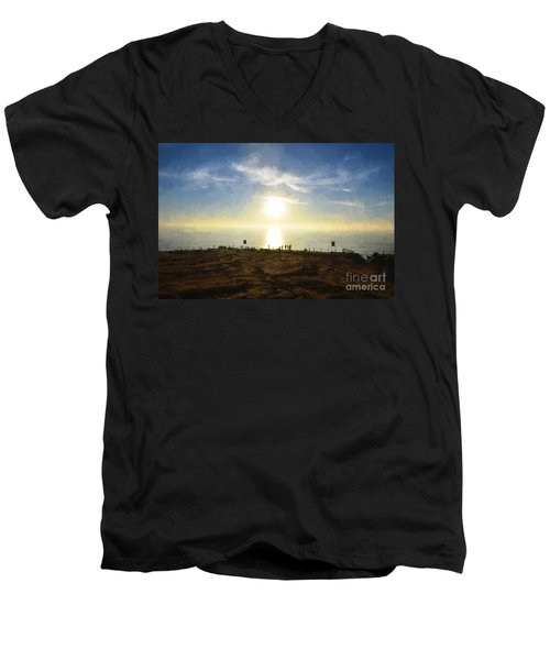 Late Afternoon - Digital Painting Men's V-Neck T-Shirt by Sharon Soberon