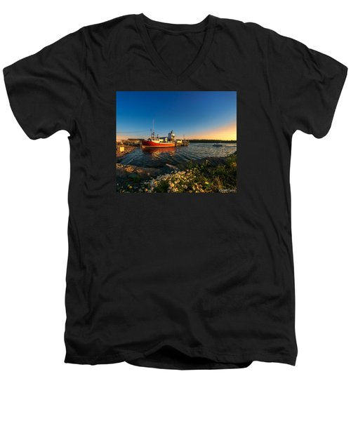 Late In The Day At Fisherman's Cove  Men's V-Neck T-Shirt by Ken Morris