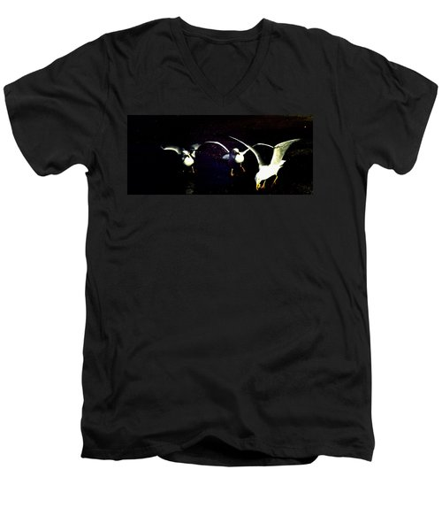 Men's V-Neck T-Shirt featuring the photograph Late Night Snack by Mike Breau