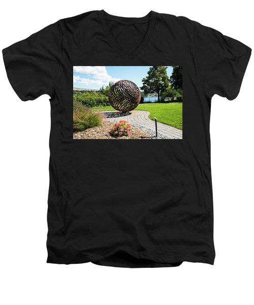 Latticed Iron Ball With Shadow Men's V-Neck T-Shirt