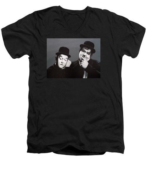 Laurel And Hardy Men's V-Neck T-Shirt by Paul Meijering