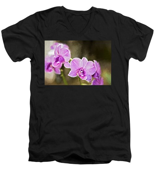 Lavendar Orchids Men's V-Neck T-Shirt by Lana Trussell