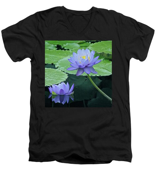 Men's V-Neck T-Shirt featuring the photograph Lavender Enchantment by Byron Varvarigos