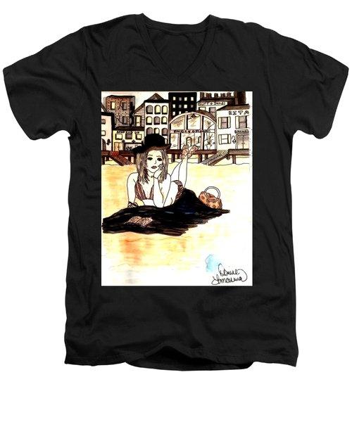 Lazy Daze Men's V-Neck T-Shirt by Denise Tomasura
