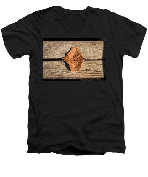 Leaf On Wooden Plank Men's V-Neck T-Shirt