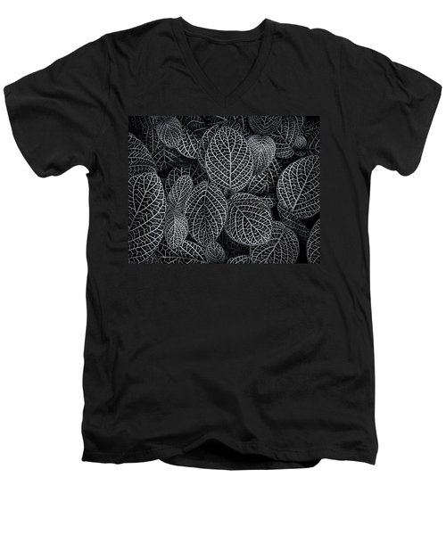 Men's V-Neck T-Shirt featuring the photograph Leaf Pattern by Wayne Sherriff