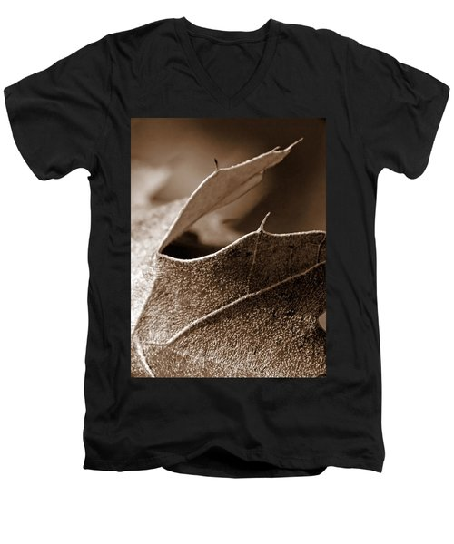 Leaf Study In Sepia II Men's V-Neck T-Shirt by Lauren Radke