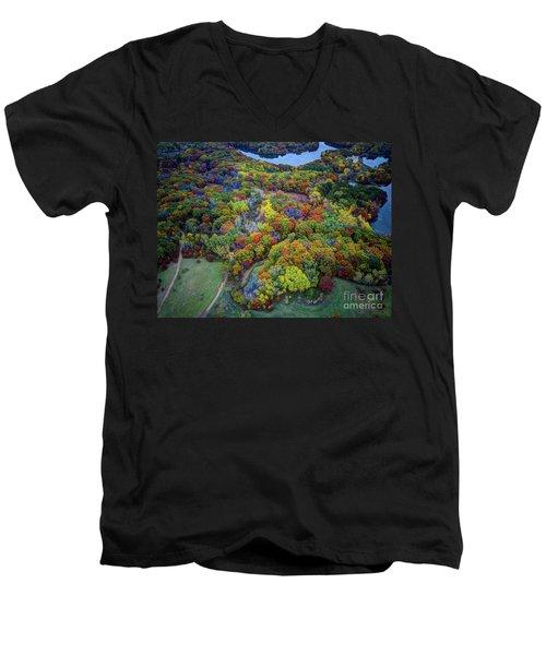 Lebanon Hills Park Eagan Mn Autumn II By Drone Men's V-Neck T-Shirt
