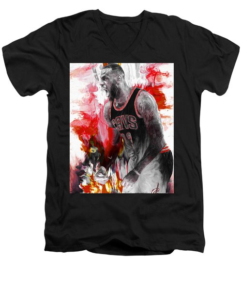 Lebron James Cleveland Cavs Digital Painting Men's V-Neck T-Shirt