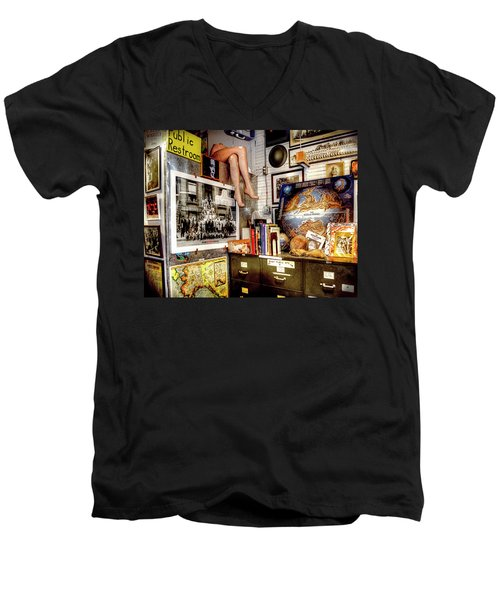 Legs In The Back Of The Shop Men's V-Neck T-Shirt by Greg Sigrist