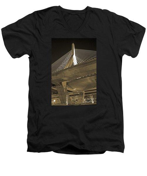 Leonard P. Zakim Bunker Hill Bridge In Sepia Men's V-Neck T-Shirt