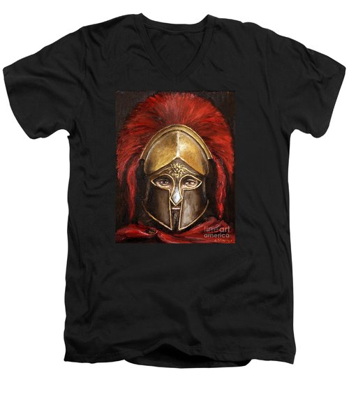 Men's V-Neck T-Shirt featuring the painting Leonidas by Arturas Slapsys