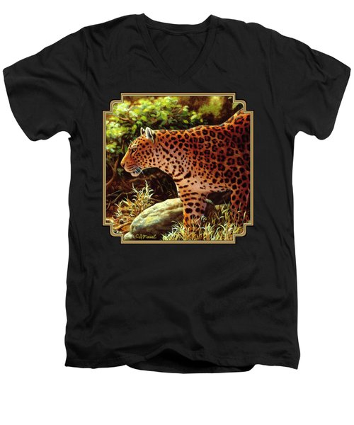 Leopard Painting - On The Prowl Men's V-Neck T-Shirt by Crista Forest