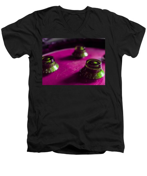 Guitar Controls Series Pink And Green Men's V-Neck T-Shirt