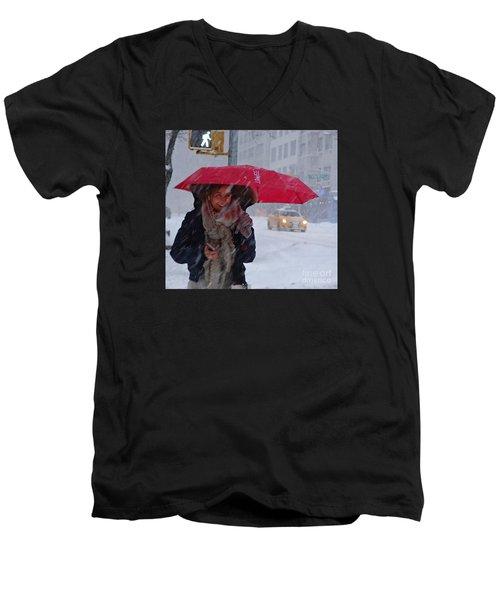 L Esprit De New York - Winter In New York Men's V-Neck T-Shirt by Miriam Danar