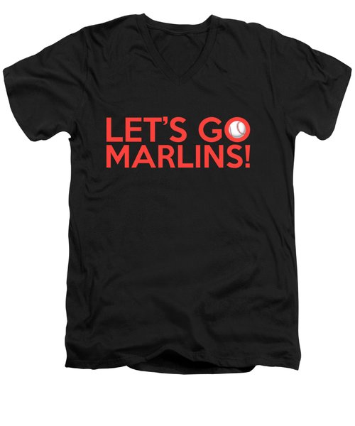 Let's Go Marlins Men's V-Neck T-Shirt by Florian Rodarte