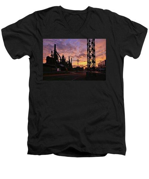 Men's V-Neck T-Shirt featuring the photograph Levitt Pavilion by DJ Florek