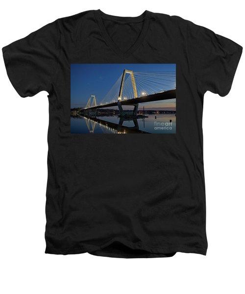Men's V-Neck T-Shirt featuring the photograph Lewis And Clark Bridge - D009999 by Daniel Dempster