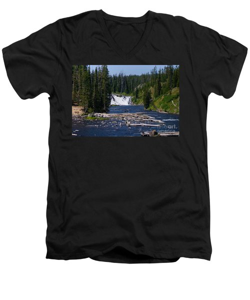 Lewis Falls Yellowstone Men's V-Neck T-Shirt