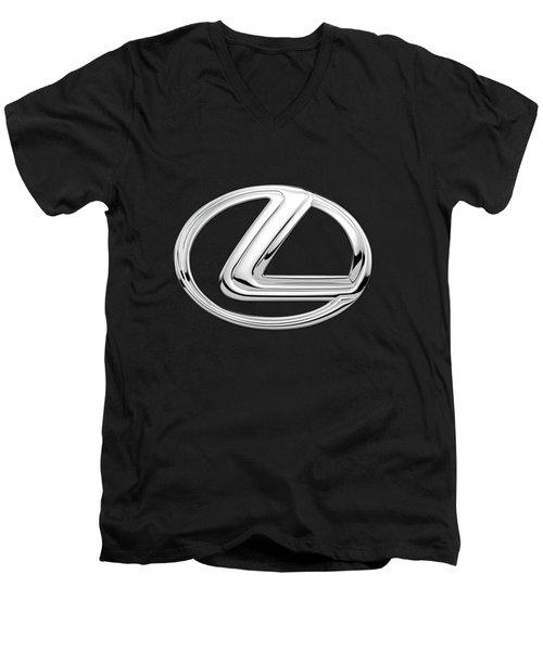 Lexus - 3d Badge On Black Men's V-Neck T-Shirt by Serge Averbukh