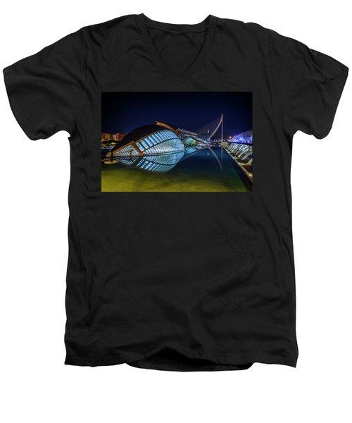 L'hemisferic In Valencia Men's V-Neck T-Shirt