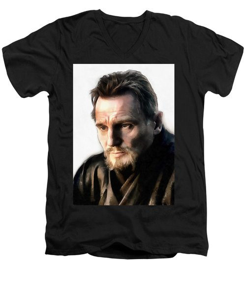 Liam Neeson Men's V-Neck T-Shirt by Sergey Lukashin