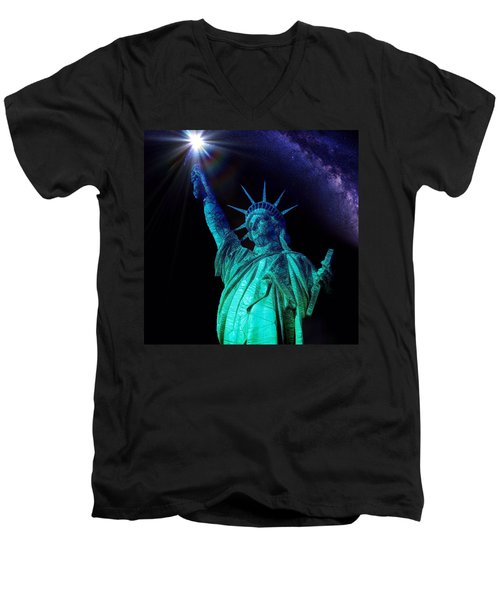 Liberty Sky Men's V-Neck T-Shirt