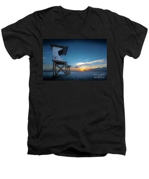 Men's V-Neck T-Shirt featuring the photograph Lifeguard by Brian Jones
