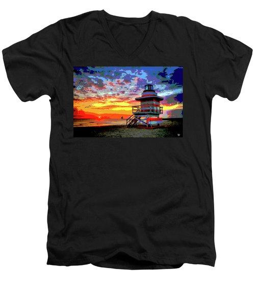 Lifeguard Tower At Miami South Beach, Florida Men's V-Neck T-Shirt by Charles Shoup