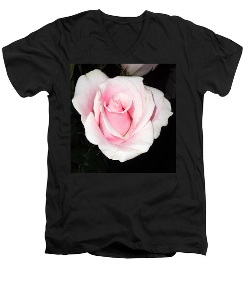 Light Pink Rose Men's V-Neck T-Shirt by Karen J Shine