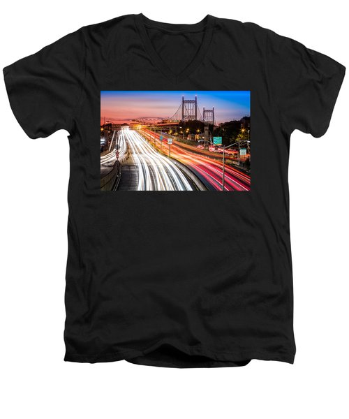 Light Trails On I-278 Near Triboro Bridge Men's V-Neck T-Shirt
