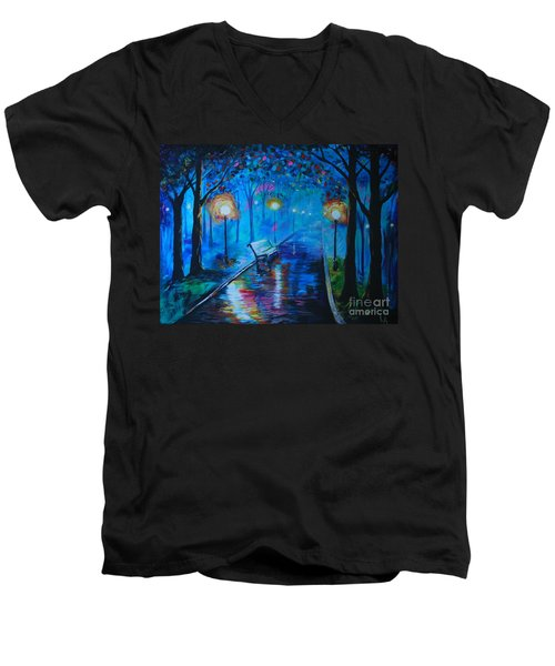 Men's V-Neck T-Shirt featuring the painting Lighted Parkway by Leslie Allen