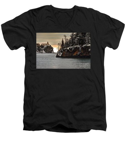 Lighthouse And Island At Dawn Men's V-Neck T-Shirt by Larry Ricker