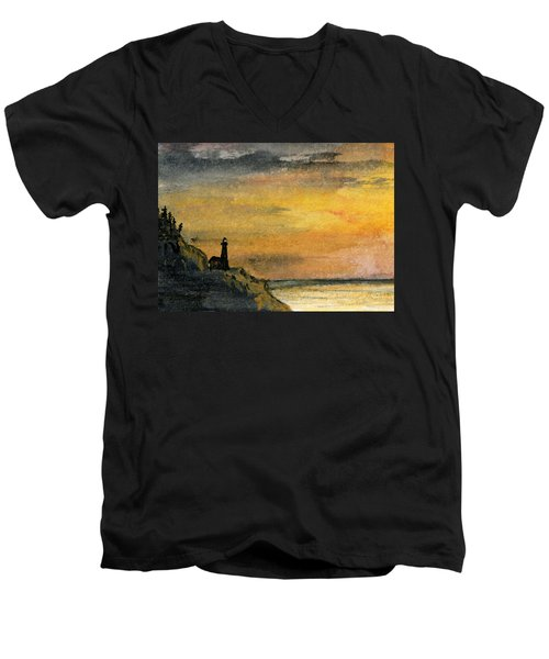 Lighthouse Oversees Coast Men's V-Neck T-Shirt by R Kyllo