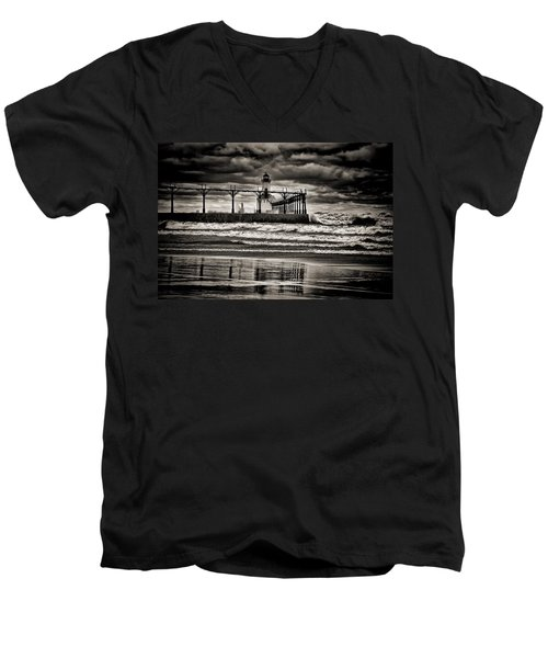 Lighthouse Reflections In Black And White Men's V-Neck T-Shirt