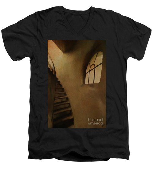 Men's V-Neck T-Shirt featuring the photograph Lighthouse Stairs by Jim  Hatch