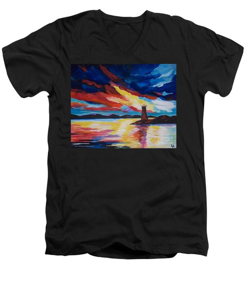 Men's V-Neck T-Shirt featuring the painting Lighthouse Storm by Leslie Allen